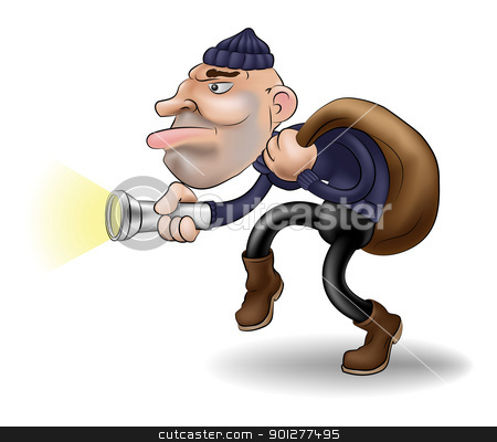 a thief in the night stock vector clipart, illustration of a robber or burglar creeping along with his swag bag by Christos Georghiou