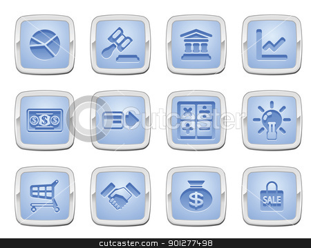 business and finance icon set stock vector clipart, illustration of a set of business and finance internet icons by Christos Georghiou