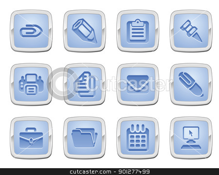 business and office icon set stock vector clipart, illustration of a set of business and office icons by Christos Georghiou