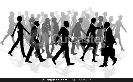 Business walking crowd rushing people stock vector clipart, Business crowd of people walking in a rush between meetings. by Christos Georghiou