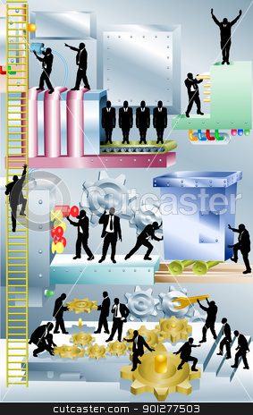 business machine  business concept illustration stock vector clipart, Conceptual piece. A business corporation represented as a giant machine with people working in it. No meshes used. Main image on separate layers for easy editing.  by Christos Georghiou