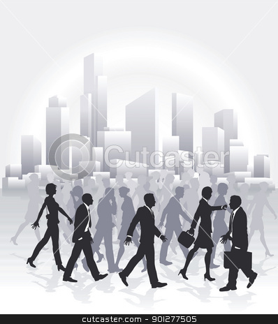 Business people rushing in front of city skyline stock vector clipart, Groups of business people rushing in front of city skyline by Christos Georghiou