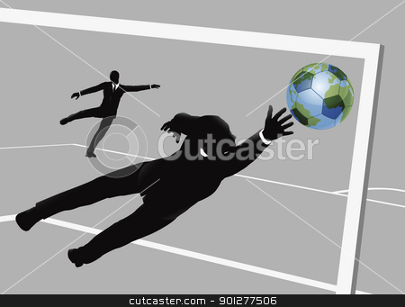 Business man soccer concept stock vector clipart, Business man scoring a soccer football goal concept by Christos Georghiou
