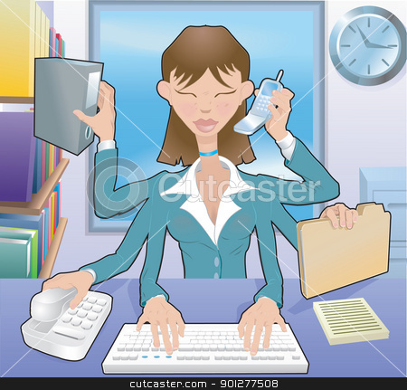 business woman multitasking illustration stock vector clipart, A busy business woman multitasking in the office, no meshes used  by Christos Georghiou