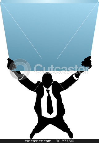 businessman with sign concept stock vector clipart, A Business man with sign  by Christos Georghiou