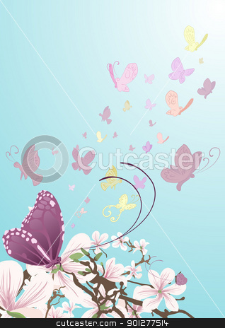 butterflies background illustration stock vector clipart, Butterflies taking flight from beautiful flowers on a tree. No meshes used.  by Christos Georghiou