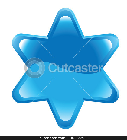 button illustration stock vector clipart, Illustration of a shiny blue star-shaped button by Christos Georghiou