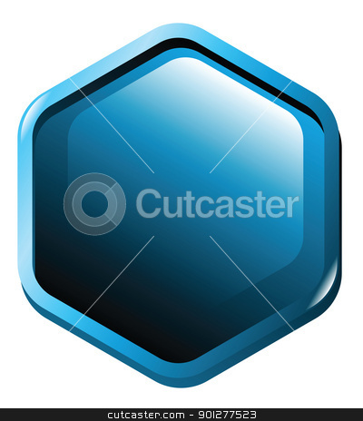 button illustration stock vector clipart, Illustration of a blue hexagon shaped button by Christos Georghiou