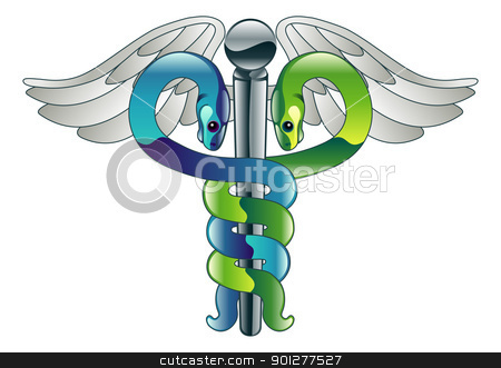 Caduceus doctor's medical symbol stock vector clipart, Illustration of a glossy metallic Caduceus doctor's medical symbol  by Christos Georghiou