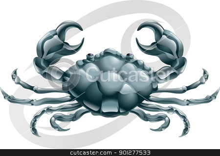 Cancer the crab star sign stock vector clipart, Illustration representing Cancer the crab star or birth sign. Includes the symbol or icon in the background by Christos Georghiou
