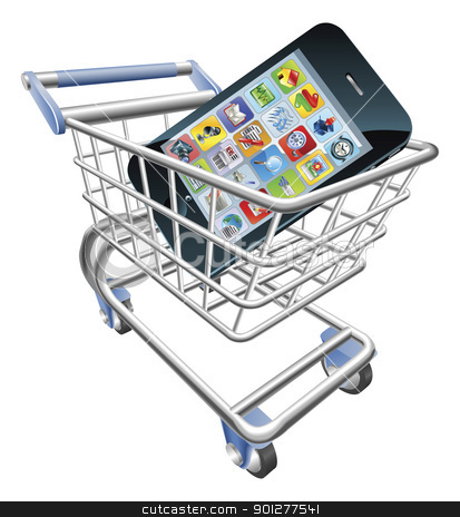 Smart phone shopping cart concept stock vector clipart, An illustration of a shopping cart trolley with smart phone mobile phone by Christos Georghiou