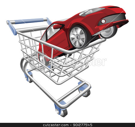 Car shopping cart concept stock vector clipart, An illustration of a shopping cart trolley with car by Christos Georghiou