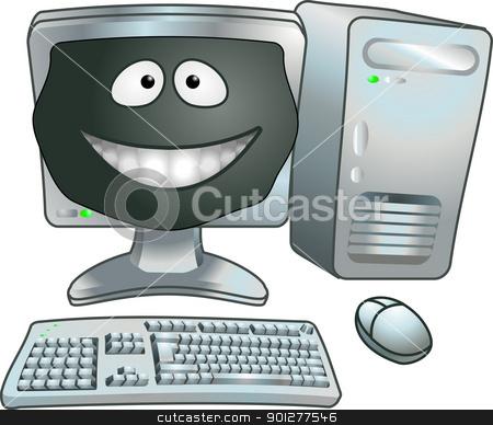 cartoon computer illustration stock vector clipart, A smiley happy cartoon computer vector illustration  by Christos Georghiou