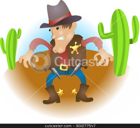 cartoon cowboy illustration stock vector clipart, An illustration of a cowboy sheriff gunslinger  by Christos Georghiou