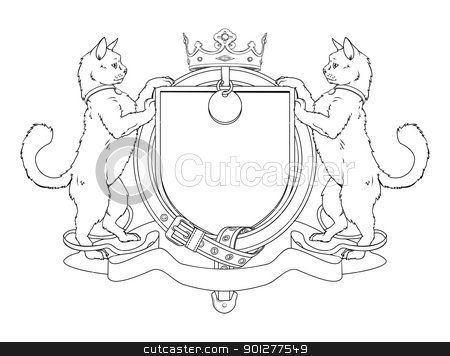 Cat pets heraldic shield coat of arms stock vector clipart, Cat pets heraldic shield coat of arms. Notice the collar instead of garter. by Christos Georghiou