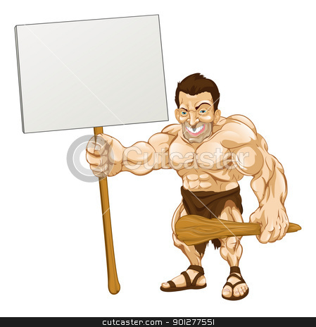 Caveman holding sign cartoon stock vector clipart, A cartoon illustration of a muscular caveman holding a sign by Christos Georghiou