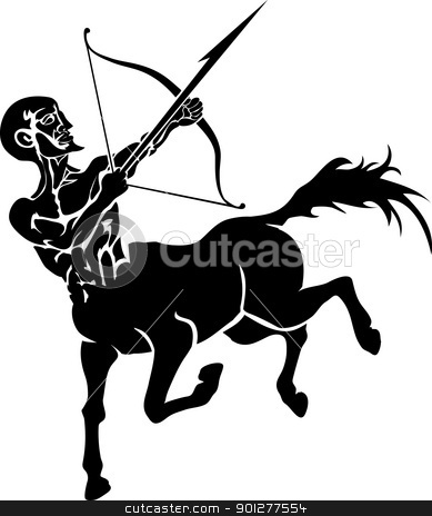 centaur illustration stock vector clipart, Monochrome vector illustration of a stylised Centaur with a bow and arrow  by Christos Georghiou
