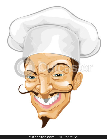 Cartoon chef illustration stock vector clipart, Portrait of a rather wicked looking cartoon chef by Christos Georghiou