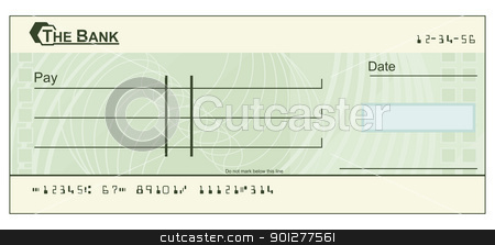 Blank cheque illustration stock vector clipart, An illustration of a green blank cheque by Christos Georghiou