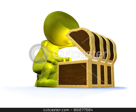 3d character discovering an unseen treasure   stock photo, 3d illustration of a cute character discovering unseen treasure in an old style chest or trunk    by Christos Georghiou
