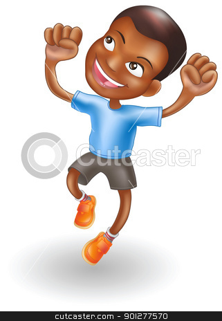 Young boy jumping for joy stock vector clipart, An illustration of a young black boy jumping for joy by Christos Georghiou