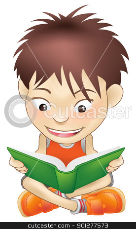 young boy reading a book stock vector clipart, Illustration of a white boy reading a book by Christos Georghiou