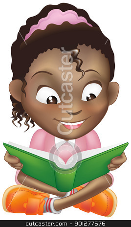 Illustration cute black girl reading book stock vector clipart, Illustration of a young sweet black girl child happily reading a book by Christos Georghiou
