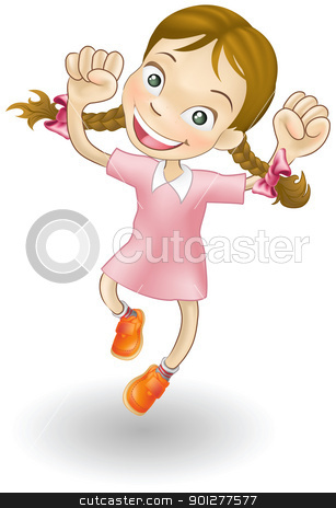 Young girl jumping for joy stock vector clipart, An illustration of a young Caucasian girl jumping for joy by Christos Georghiou
