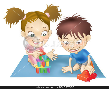 two children playing stock vector clipart, An illustration of two white children playing with toys. by Christos Georghiou