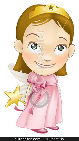 fairy princess costume girl child stock vector clipart, An illustration of a young white caucasian girl dressed as a fairy princess in a fairy princess costume with a crown, star wand and butterfly wings by Christos Georghiou