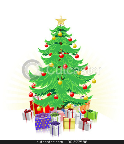 Christmas tree and gifts illustration stock vector clipart, Christmas tree illustration with lots of wrapped gifts by Christos Georghiou