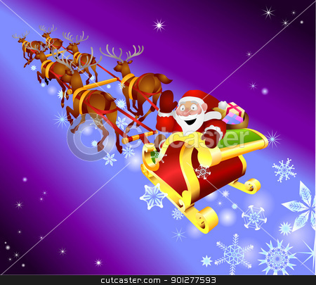 christmas sled illustration stock vector clipart, Santa waving from his sled  by Christos Georghiou