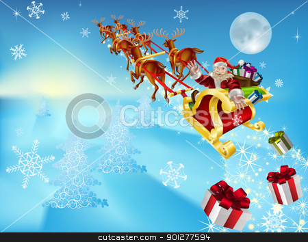 santa in his sleigh stock vector clipart, an illustration of santa in his xmas sled or sleigh, delivering his christmas gifts to everyone by Christos Georghiou