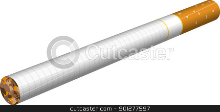 cigarette illustration stock vector clipart, A an illustration of a cigarette.  by Christos Georghiou