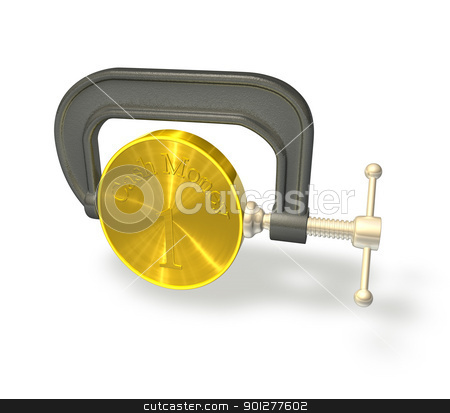 Credit crunch 3d render of a coin being clamped in a vice stock photo, 3d render illustration of a clamp or vice squeezing a coin to represent the credit crunch. by Christos Georghiou
