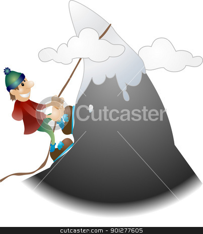 mountain climber illustration stock vector clipart, An illustration of a mountaineer scaling a mountain  by Christos Georghiou