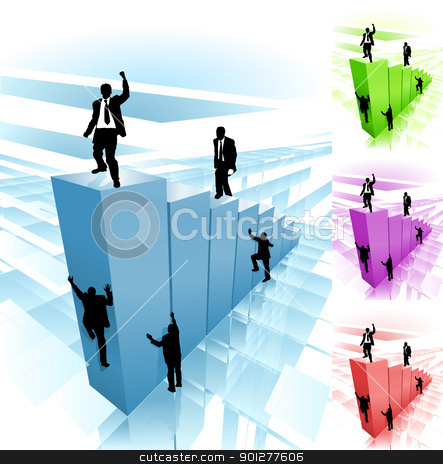 climber business concept illustration stock vector clipart, Conceptual piece. Business people striving to reach the top, some taking the hard way climbing the sheer face, while others take the easy route. No meshes used. Main image on separate layers for easy editing. Also includes several different color versions  by Christos Georghiou