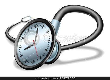 Medical time stethoscope concept stock vector clipart, Medical time concept. Stethoscope with clock on face, concept for time pressure in healthcare or waiting lists etc. by Christos Georghiou