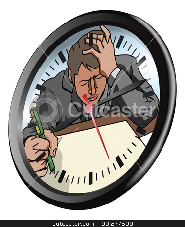 Stressed man clock concept stock vector clipart, Conceptual piece. A man looking very stressed and under pressure working in clock face by Christos Georghiou