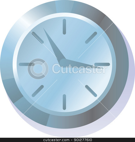 Clock Illustration stock vector clipart, An illustration of a metallic clock on a wall  by Christos Georghiou