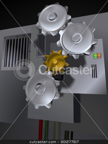 Cog gears illustration stock vector clipart, A machine with gears  by Christos Georghiou