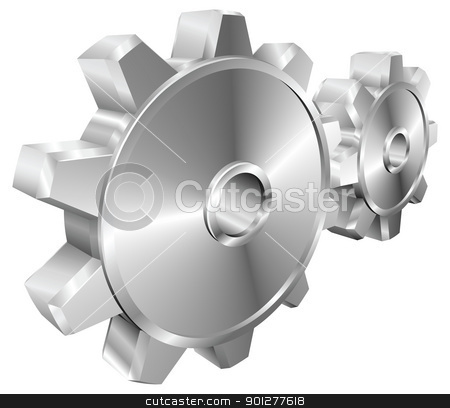 Shiny glossy mechanical cogs or gears vector illustration  stock vector clipart, A pair of shiny silver steel metallic cog or gear wheels vector illustration with dynamic perspective. Can be used as an icon or illustration in its own right. by Christos Georghiou