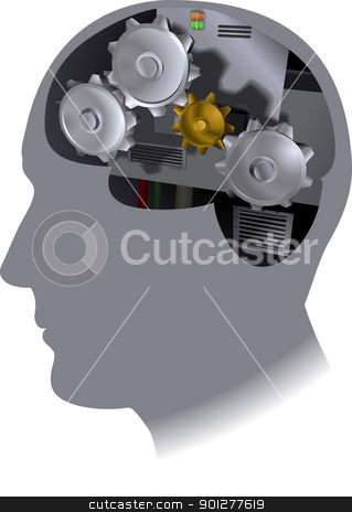 cogs brain illustration stock vector clipart, The working of the brain  by Christos Georghiou