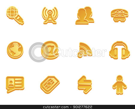 communication icon set stock vector clipart, illustration of a communication icon set series  by Christos Georghiou