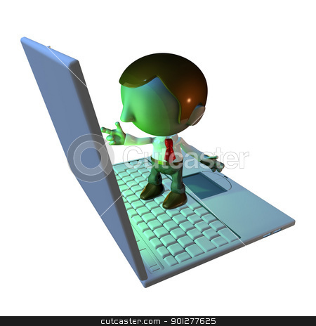 3d business man character standing on laptop stock photo, 3d business man character standing on oversized or large laptop or keyboard by Christos Georghiou
