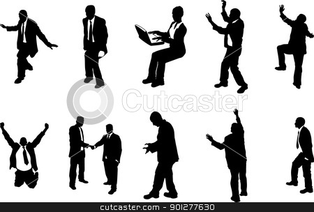 concept busniess people silhouettes stock vector clipart, A series of business people mostly in more unusual poses, climbing, balancing etc. Great for use in conceptual pieces.  by Christos Georghiou