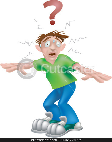 confused man illustration stock vector clipart, A vector illustration of a young confused man wondering what to do  by Christos Georghiou