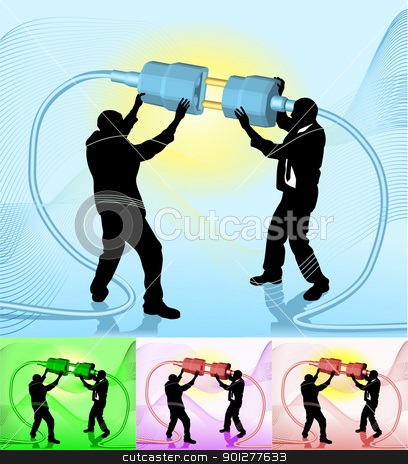 connect  business concept illustration stock vector clipart, Conceptual piece. Business people making a connection. No meshes used. Main image on separate layers for easy editing. Also includes several different color versions  by Christos Georghiou