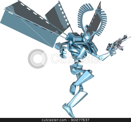 samurai robot illustration stock vector clipart, A cool futuristic manga style samurai robot  by Christos Georghiou