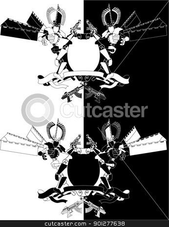 Funky samurai robot monochrome shield  stock vector clipart, Funky samurai robot monochrome shield A cool futuristic coat of arms featuring manga style samurai robot  by Christos Georghiou